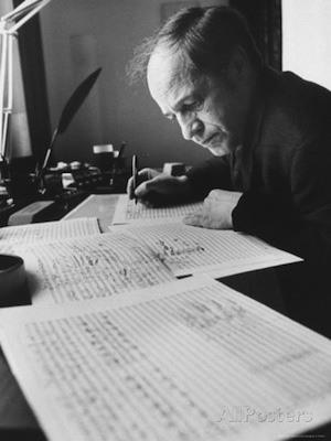 Pierre Boulez composing at his desk.