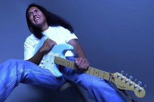 Arizona Navajo, Sir Harrison, with his blue Fender stratocaster guitar, fronts the Blues Kings.