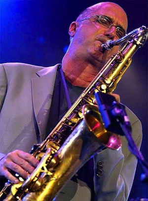 Saxophonist Michael Brecker with his tenor sax.