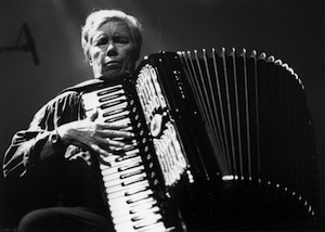 pauline oliveros performing on accordion